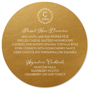 ForYourParty's elegant Stardream Old Gold Circle Menu with Matte White Foil has a Diamond Wreath graphic and is good for use in Frames, Wedding themed parties and couldn't be more perfect. It's time to show off your impeccable taste.