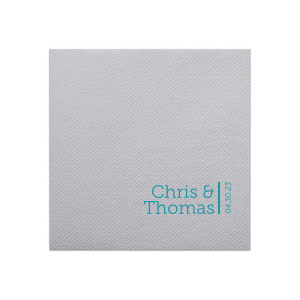 Our beautiful custom Dove Gray Cocktail Napkin with Satin Teal / Peacock Foil will make your guests swoon. Personalize your party's theme today.