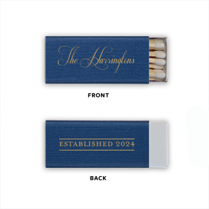 ForYourParty's personalized Established Year wedding matchboxes couldn't be more perfect. Mark the beginning of your life together with your custom designed cigar wedding matches. It's time to show off your excellent taste-—not to mention also giving a great wedding favor and way to light cigars—with your custom wedding cigar matches!
