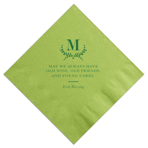 The ever-popular Kiwi Cocktail Napkin with Satin Leaf Foil Color has a sweet Irish Blessing and is good for use in Wedding themed parties and can be customized to complement every last detail of your party.