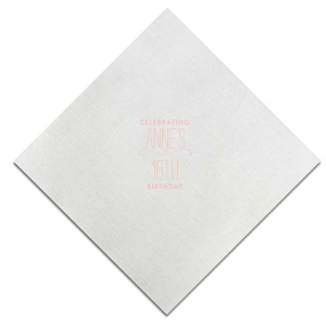 The ever-popular Platinum Cocktail Napkin with Matte Pastel Pink Foil has a Simple Heart Flourish graphic and is good for use in Frames, Hearts, Wedding themed parties and will look fabulous with your unique touch. Your guests will agree!