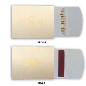 ForYourParty's personalized Stardream Ivory Pillow Matchbox with Shiny 18 Kt Gold Foil has a Peony Accent graphic and is good for use in Floral, Accents themed parties and can't be beat. Showcase your style in every detail of your party's theme!