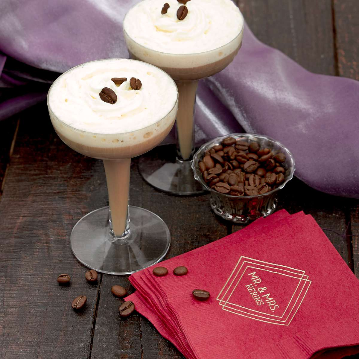espresso martini cocktail recipe with personalized cocktail napkin