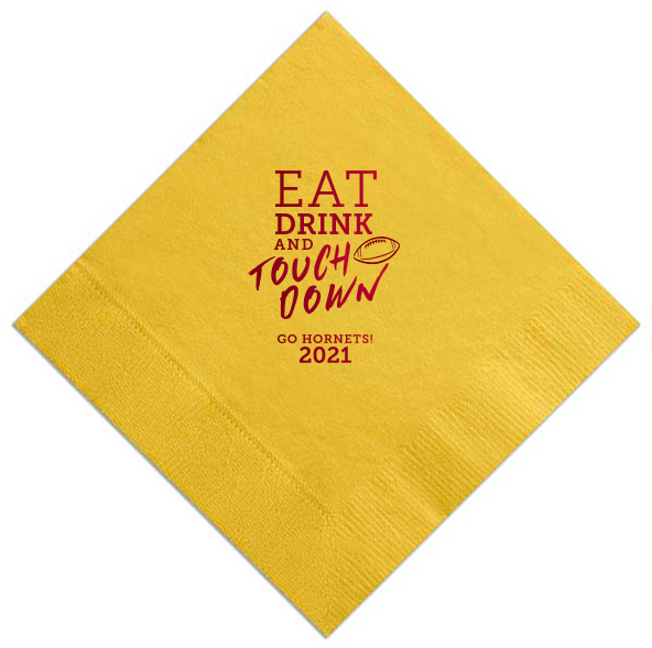 Personalized Football Game Day Cocktail Napkin