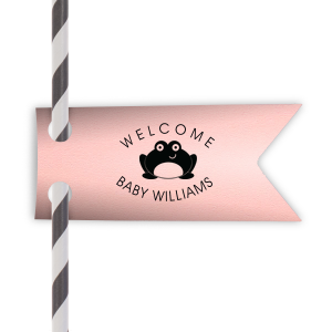 Our personalized Poptone Ballet Pink Rectangle Straw Tag with Matte Black Foil Color has a Baby Frog graphic and is good for use in Baby Shower, Baby Animals themed parties and will look fabulous with your unique touch. Your guests will agree!