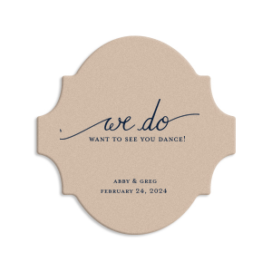Custom Silver with Black back Ornament Coaster with Matte Navy Foil Color has a We Do graphic and is good for use in Words, Wedding themed parties and are a must-have for your next event—whatever the celebration!