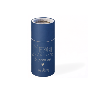 Our beautiful custom Natural Amethyst Barrel Matchbox with Shiny Sky Blue foil has a Merci graphic and is good for use as a favor at weddings, bridal showers or other themed parties and can be customized to complement every last detail of your party.
