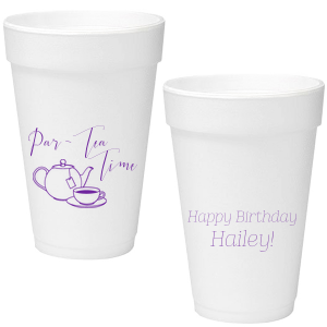 Be a stellar host and give your guest of honor birthday details they'll love. Make the day about her and personalize these Par-Tea Time cups with the birthday girl's name. Our hand lettered calligraphy font and Tea Pot clipart will complement your tea party beautifully.