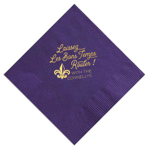 Our custom Amethyst Cocktail Napkin with Shiny 18 Kt Gold Foil has a Fleur de Lis graphic and is good for use in Accents, Wedding themed parties and can be personalized to match your party's exact theme and tempo.
