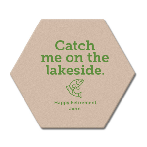 Celebrate years of hard work while looking forward to the leisure to come with a retirement party to remember! You name on coasters with our Fish graphic and fun lakeside saying will be a crowd favorite for sure. Use your personalized coasters on the bar and tables. Guests can even take them home for personalized party favors.