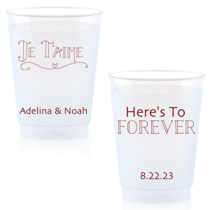 Our custom Matte Merlot Ink 24 oz Frost Flex Cup with Matte Merlot Ink Screen Print has a Je Taime graphic and is good for use in Words themed parties and couldn't be more perfect. It's time to show off your impeccable taste.