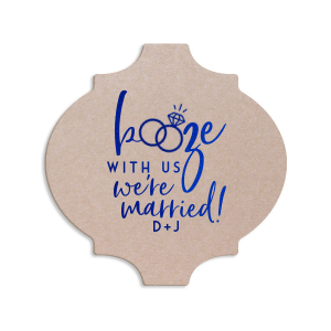 Our personalized Blush with Kraft back Nouveau Coaster with Shiny 18 Kt Gold Foil has a Wedding Rings 2 graphic and is good for use in Wedding themed parties and can't be beat. Showcase your style in every detail of your party's theme!