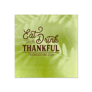 Our personalized Leaf Green Cocktail Napkin with Matte Chocolate Foil can be customized to complement every last detail of your party.