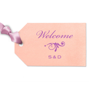 Personalized Stardream Ballet Pink Diamond Gift Tag with Satin Plum Foil Color has a Decorative Flourish 2 graphic and is good for use in Accents themed parties and will make your guests swoon. Personalize your party's theme today.