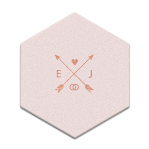 ForYourParty's chic Blush w/ Kraft back Hexagon Coaster with Shiny Rose Gold Foil has a Cross Arrows 1 graphic and is good for use in Accents, Frames themed parties and will impress guests like no other. Make this party unforgettable.