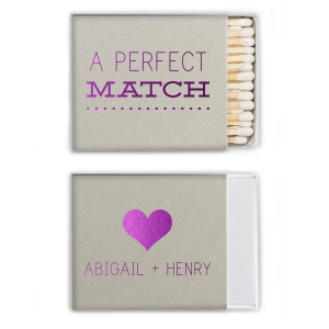 Our custom Natural Gray Pillow Matchbox with Shiny Amethyst Foil Color has a Heart Solid graphic and is good for use in Hearts themed parties and will give your party the personalized touch every host desires.