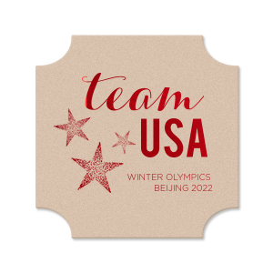 ForYourParty's elegant Eggshell Square Coaster with Shiny 18 Kt Gold Foil has a Star Trio graphic and is good for use in USA, Olympic, Patriotic themed parties and can be personalized to match your party's exact theme and tempo.