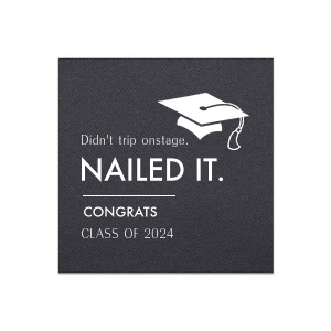Personalized Black Cocktail Napkin with Matte White Foil has a Cap graphic and is good for use in Graduation themed parties and will make your guests swoon. Personalize your party's theme today.
