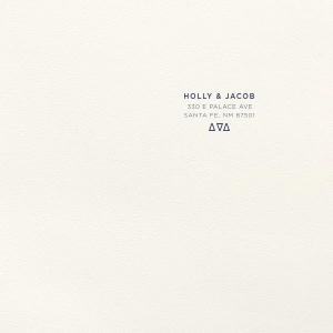 Our personalized Lettra Pearl White 110lb Invitation Envelope with Navy Ink Letterpress Inks and Triangles will give your party the personalized touch every host desires.
