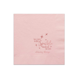 ForYourParty's elegant Ballet Pink Cocktail Napkin with Shiny Rose Quartz Foil has a Starry Night graphic and is good for use in Birthday, Graduation, Bat Mitzvah and other starry themed parties and will impress guests like no other. Make this party unforgettable.