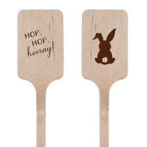 Our custom Matte Chocolate Oval Stir Stick with Matte Chocolate Foil has a Bunny graphic and is good for use in Animals, Easter, Holiday themed parties and will make your guests swoon. Personalize your party's theme today.