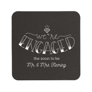Custom White Square Coaster with Satin Plum Foil has a Engaged 2 graphic and is good for use in Engagement, Wedding themed parties and will add that special attention to detail that cannot be overlooked.