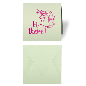 Our custom Poptone Mint Gift Enclosure with Shiny Fuchsia Foil has a Unicorn graphic and is good for use in Kids Birthdays and other  Magical occasions. They can be personalized to match your party's exact theme and tempo.