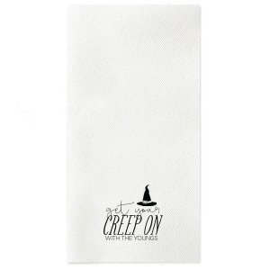 Our personalized Black Linen Like Cocktail Napkin with Matte White Foil has a Witch's Hat graphic and is good for use in Halloween themed parties and will impress guests like no other. Make this party unforgettable.