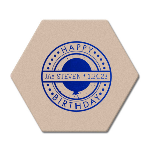 The ever-popular Eggshell Round Coaster with Shiny Royal Blue Foil Color has a Birthday Badge graphic and is good for use in Frames themed parties and can't be beat. Showcase your style in every detail of your party's theme!