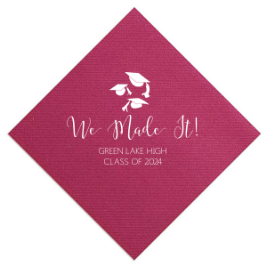 Our beautiful custom Plum Cocktail Napkin with Matte Sunflower Foil has a Caps Thrown graphic and is good for use in Graduation themed parties and can be personalized to match your party's exact theme and tempo.