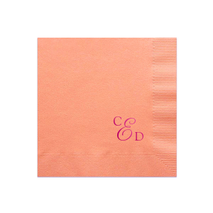 Our beautiful custom Peach Cocktail Napkin with Shiny Fuchsia Foil will make your guests swoon. Personalize your party's theme today.