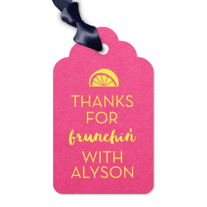 The ever-popular Poptone Fuschia Arch Gift Tag with Matte Mimosa Yellow Foil Color has a Lemon Wedge graphic and is good for use in Food, Drinks themed parties and will add that special attention to detail that cannot be overlooked.