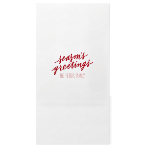 Personalized Shiny Convertible Red Large Cellophane Bag with Shiny Convertible Red Foil has a Season's Greetings graphic and is good for use in Holiday, Christmas, Treat themed parties and can be customized to complement every last detail of your party.