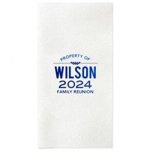 ForYourParty's simple White Cocktail Napkin with Shiny Royal Blue Foil has a Branch and is good for use at Reunion parties and can be customized to complement every last detail of your party.