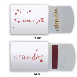 ForYourParty's elegant Natural Frost White Lipstick Matchbox with Shiny Rose Quartz Foil has a Solid Heart graphic and a We Do 3 graphic and is good for use in Wedding, Words themed parties and will look fabulous with your unique touch. Your guests will agree!