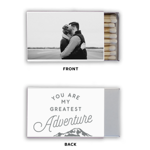 Click Customize More to Upload your Photo and make edits. For Your Party's fun White Classic Photo Matchbox with Matte Slate Gray Ink has a Greatest Adventure graphic and is good for use in outdoor themed parties and couldn't be more perfect. It's time to show off your impeccable taste.
