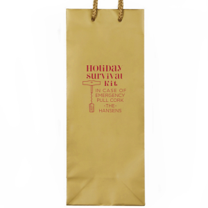 ForYourParty's personalized Kraft Wine Gift Bag with Matte Lipstick Red Foil Color has a Corkscrew graphic and is good for use for Holiday themed parties and can be customized to complement every last detail of your party.