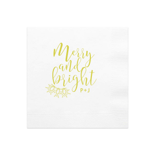 ForYourParty's chic White Ink Printed Cocktail Napkin with Matte Chartreuse Ink Digital Print Colors has a Lights graphic and is good for use in Holiday and Christmas themed parties and can't be beat. Showcase your style in every detail of your party's theme!