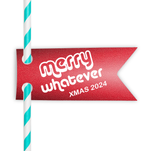 Our custom Glitter Cherry Red Double Point Straw Tag with Matte White Foil has a Merry Whatever graphic and is good for use in Christmas, Holiday, Words themed parties and will impress guests like no other. Make this party unforgettable.