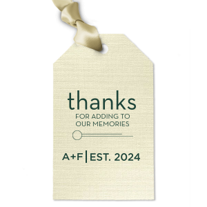 Our personalized Linen Pearl Cream Square Gift Tag with Matte Spruce Foil Color has a Circle Flourish graphic and is good for use in Accents themed parties and couldn't be more perfect. It's time to show off your impeccable taste.