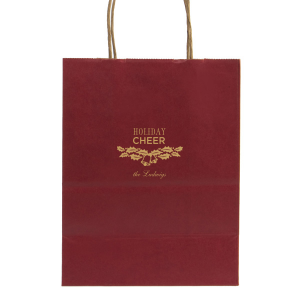ForYourParty's elegant Red Gift Bag with Satin 18 Kt. Gold Foil Color has a Holly Bells graphic and is good for use in Holiday, Christmas themed parties and will add that special attention to detail that cannot be overlooked.