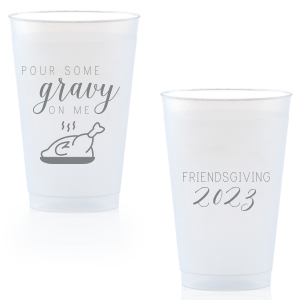 Custom Gold Ink 16 oz Frost Flex Cup with Gold Ink Print Color has a Plated Turkey graphic and is good for use in Food, Thanksgiving themed parties and will add that special attention to detail that cannot be overlooked.