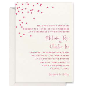 ForYourParty's elegant Lettra Pearl White 110lb Invitation with Shiny Sterling Silver Foil has a Full Bleed Confetti graphic and is good for use in Celebration themed parties and are a must-have for your next event—whatever the celebration!