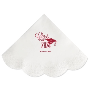 ForYourParty's elegant Convertible Red Cocktail Napkin with Matte White Foil Color has a Cap graphic and is good for use in Graduation themed parties and can be customized to complement every last detail of your party.