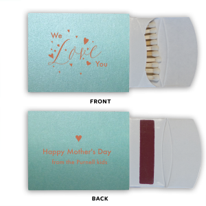 Our custom Stardream Tiffany Blue Classic Matchbox with Satin Copper Penny Foil has a Love Hearts graphic and is good for use in Words, Wedding, Anniversary themed parties and will look fabulous with your unique touch. Your guests will agree!