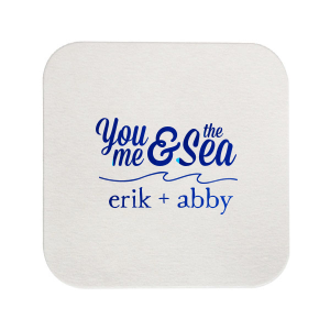 ForYourParty's elegant Eggshell Square Coaster with Shiny Royal Blue Foil has a Wave Flourish graphic and is good for use in Beach/Nautical, Accents themed parties and will look fabulous with your unique touch. Your guests will agree!
