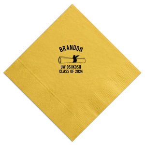 Our custom Sunflower Cocktail Napkin with Matte Black Foil Color has a Graduation Scroll graphic and is good for use in Graduation themed parties and are a must-have for your next event—whatever the celebration!