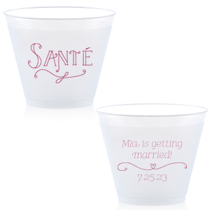 ForYourParty's chic Matte Navy Ink 9 oz Frost Flex Cup with Matte Navy Ink Screen Print has a Sante graphic and a Simple Heart Flourish graphic and is good for use in Frames themed parties and will add that special attention to detail that cannot be overlooked.