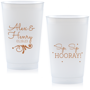 ForYourParty's personalized 12 oz Frosted Plastic Cup with Copper Ink Cup Ink Colors has a Decorative Flourish graphic and is good for use in Engagement, Bridal Shower and Wedding themed parties and couldn't be more perfect. It's time to show off your impeccable taste.