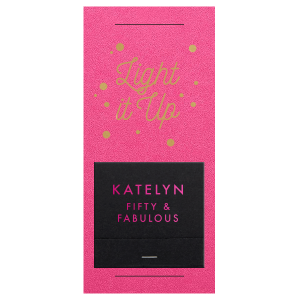 Personalized Poptone Fuschia Large Sparkler Sleeve with Shimmer 30 Strike with Satin 18 Kt. Gold Foil and Matte Fuchsia Foil will impress guests like no other. Make this party unforgettable.